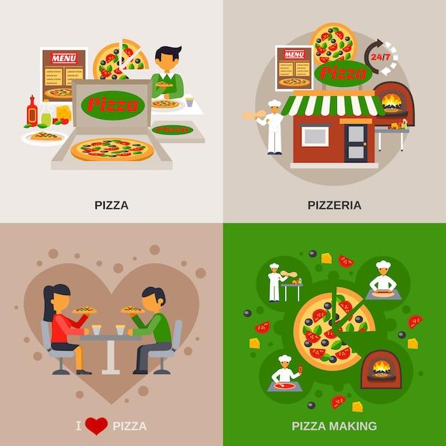Pizzeria concept banner set Vecteur gratuit