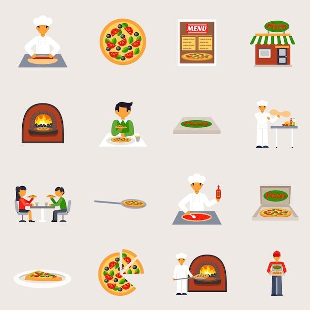 Pizzeria icons set Vecteur gratuit