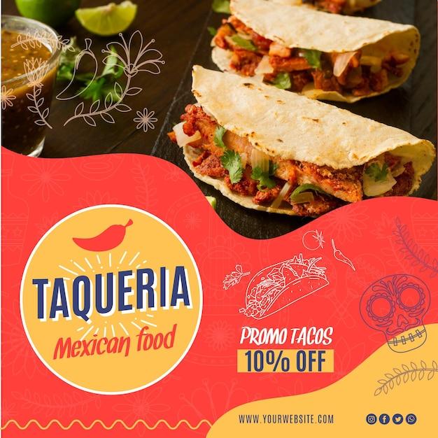 Place De Flyer Restaurant Mexicain Vecteur Premium