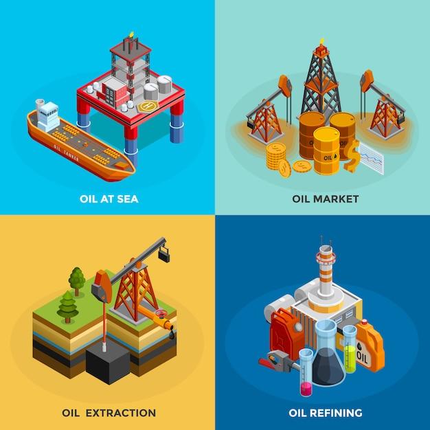 Place des icônes isométriques de l'industrie pétrolière Vecteur gratuit