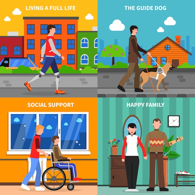 Place des icônes plat concept 4 handicapés Vecteur gratuit