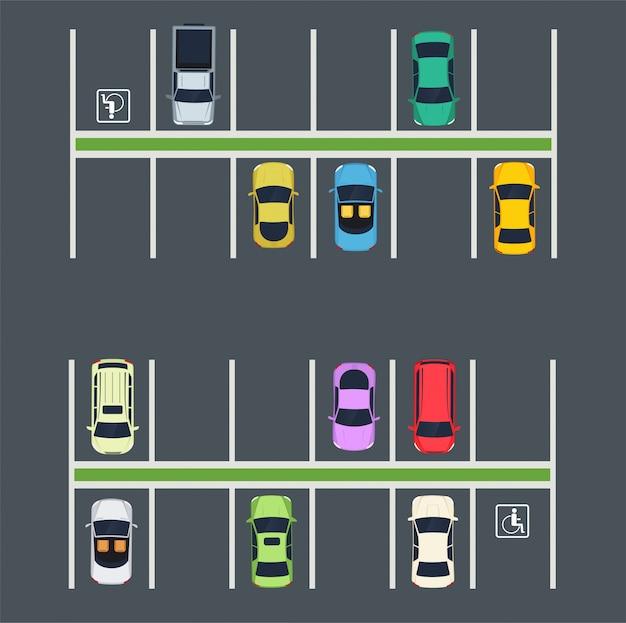 Place de parking avec des voitures. Vecteur Premium