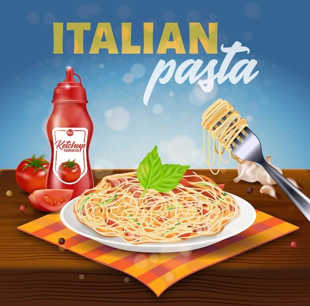 Place des pâtes italiennes bannière. assiette avec spaghetti Vecteur Premium
