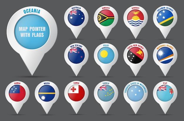 Placez Le Pointeur Sur La Carte Avec Le Drapeau Des Pays D'océanie Et Leurs Noms. Vecteur Premium