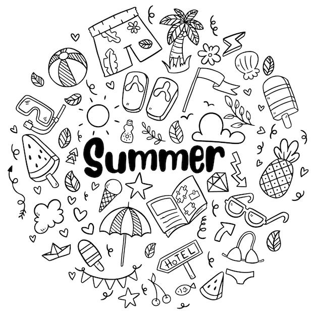 Plage d'été dessinés à la main doodles éléments et symboles vectoriels isolés Vecteur Premium