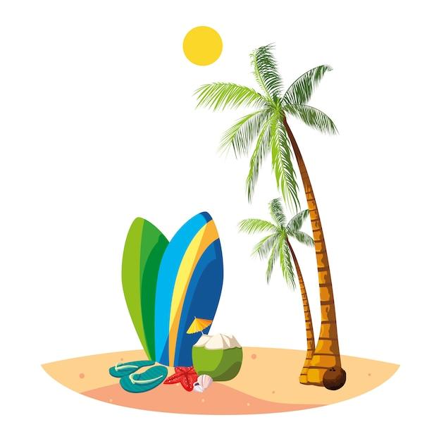 Plage d'été avec des palmiers et des planches de surf Vecteur Premium