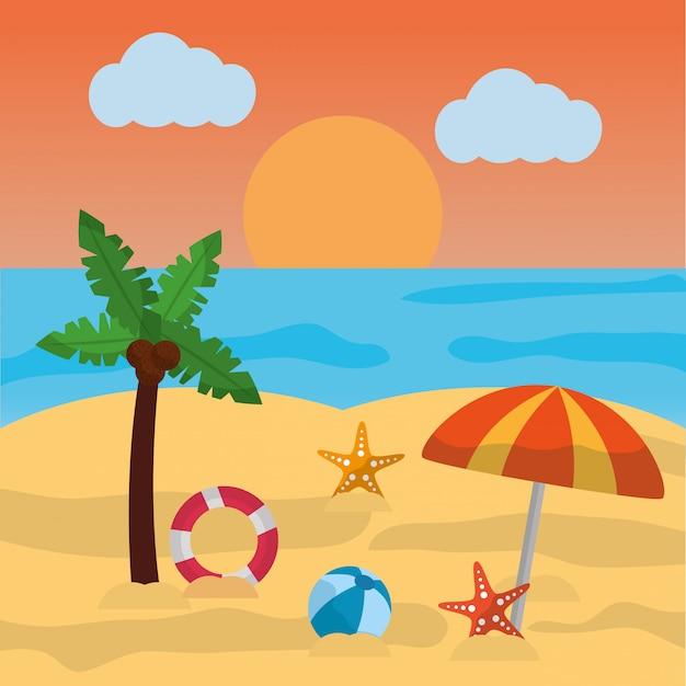 Plage, été, paume, parapluie boule, étoile de mer, soleil, nuage, mer Vecteur gratuit