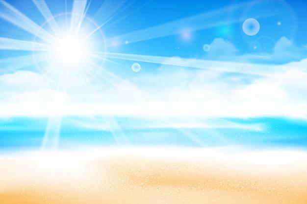 La plage sur fond de ciel bleu flou Vecteur Premium