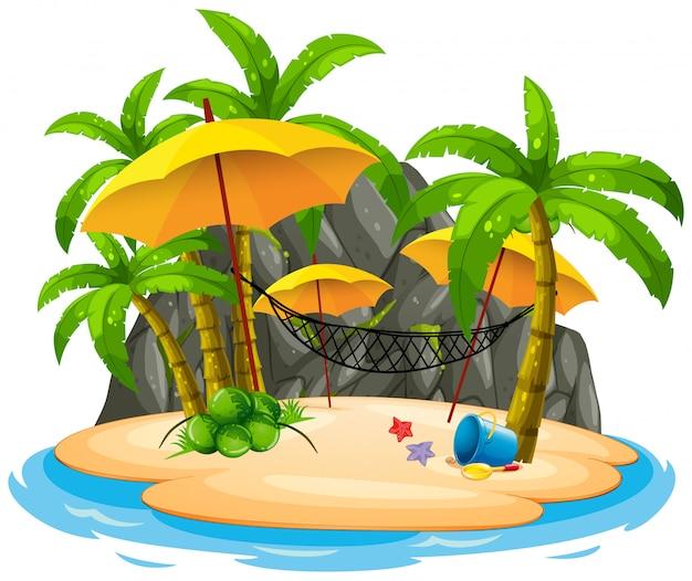 Plage De L'île Avec Hamac Vecteur gratuit