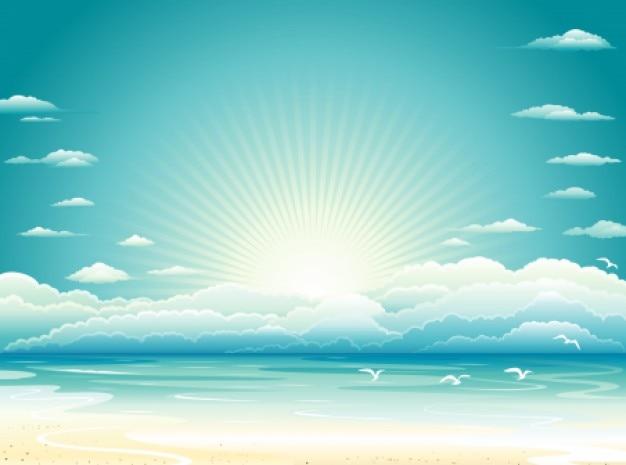 Plage lever du soleil avec fond de nuages Vecteur gratuit