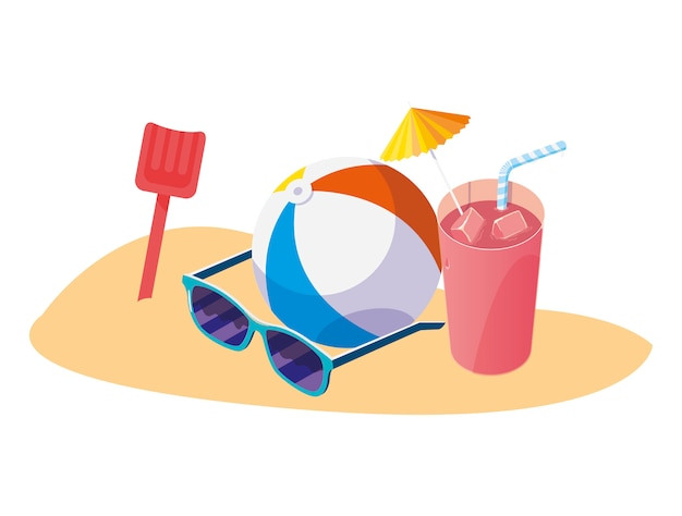Plage De Sable D'été Avec Jouet Ballon Et Icônes Vecteur Premium
