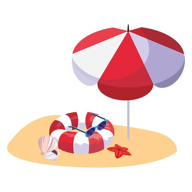 Plage de sable d'été avec parasol et flotteur Vecteur Premium