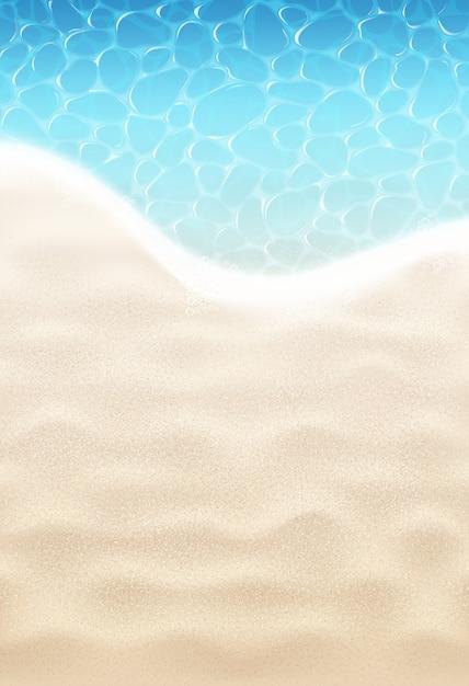 Plage de sable et mer Vecteur Premium