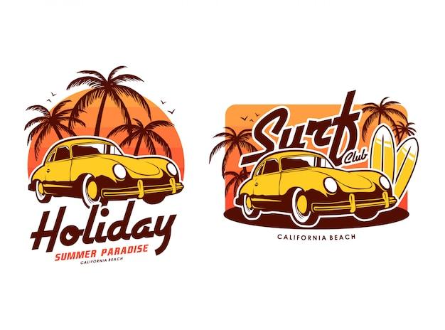 Plage De Surf De Vacances Avec Coucher De Soleil Et Illustration De Jeu De Voiture Rétro Vecteur Premium
