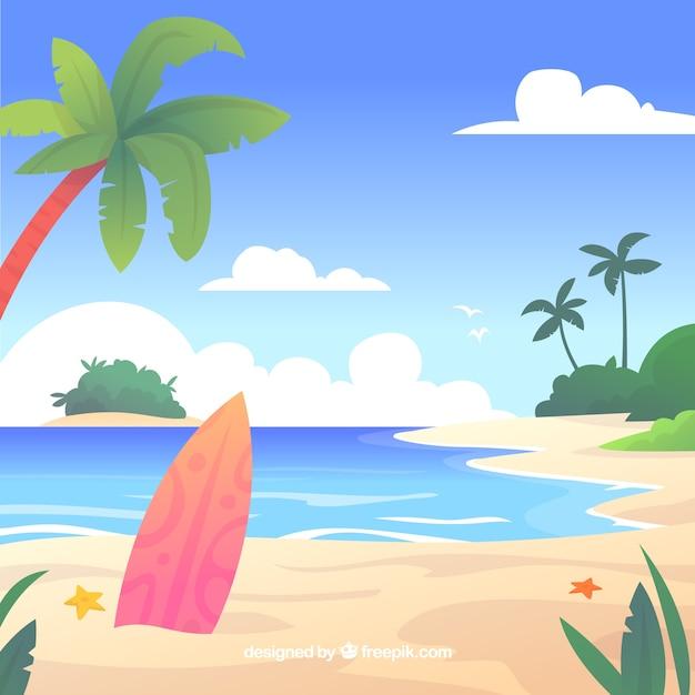 Plage tropicale paradisiaque avec un design plat Vecteur gratuit