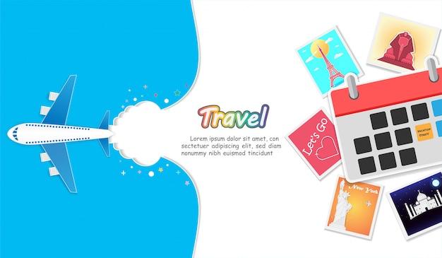Plan et album photo avec des éléments de voyage. Vecteur Premium