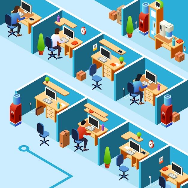 Plan de bureau de cabine, de coworking avec les employés de bureau, les employés sur leurs lieux de travail. Vecteur gratuit