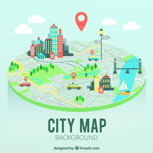 Plan de la carte de la ville Vecteur gratuit