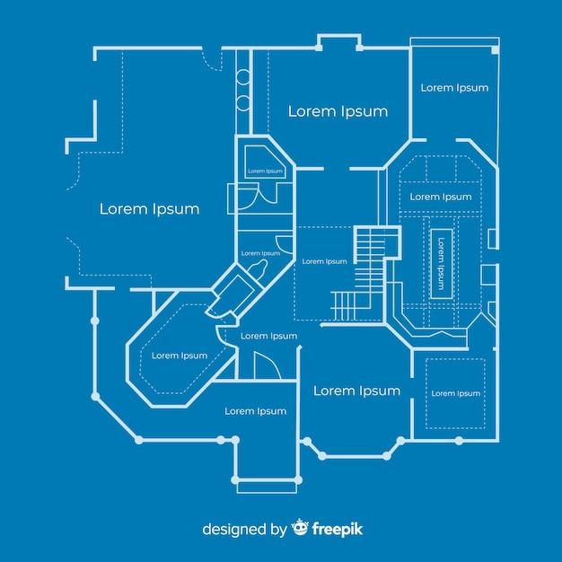 Plan d'esquisse d'une maison Vecteur gratuit