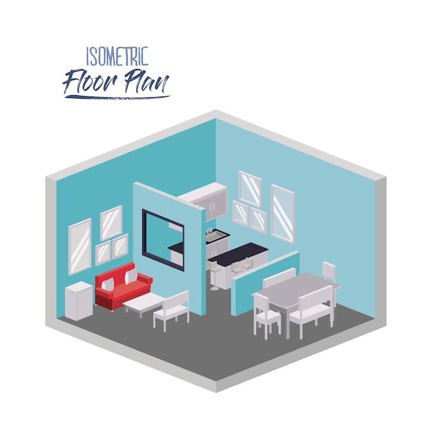 Plan D'étage Isométrique Du Salon Et De La Salle à Manger Vecteur Premium