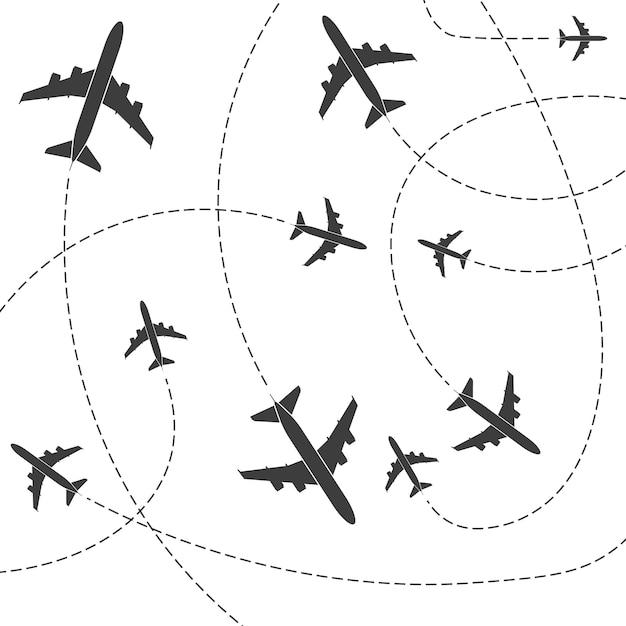 Plan avec lignes de tracé en pointillés Vecteur Premium