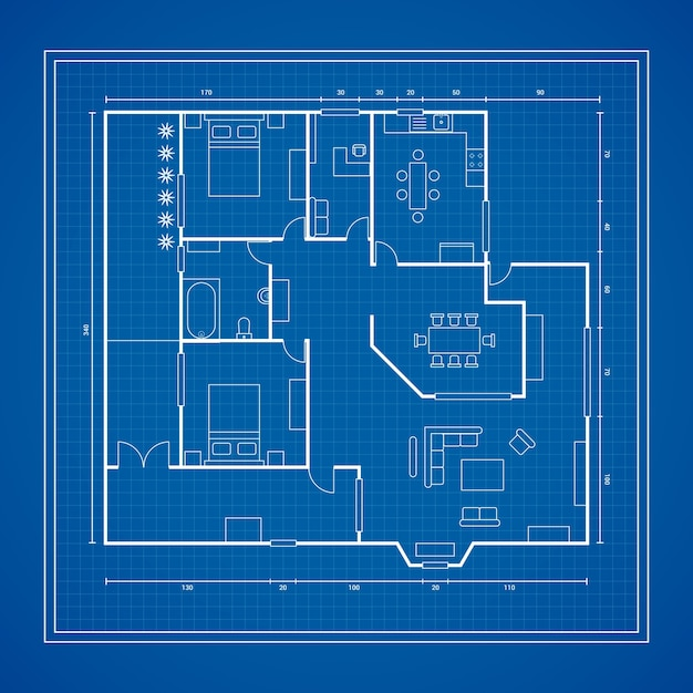 Plan d'une maison Vecteur gratuit