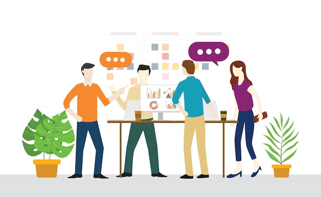 Plan quotidien de réunions debout ou debout pour le travail d'équipe Vecteur Premium