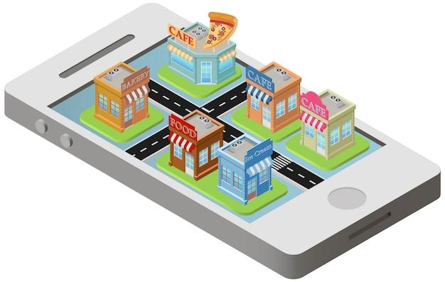 Plan de ville isométrique sur smartphone Vecteur Premium