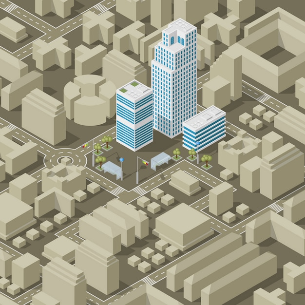 Plan de ville isométrique Vecteur Premium