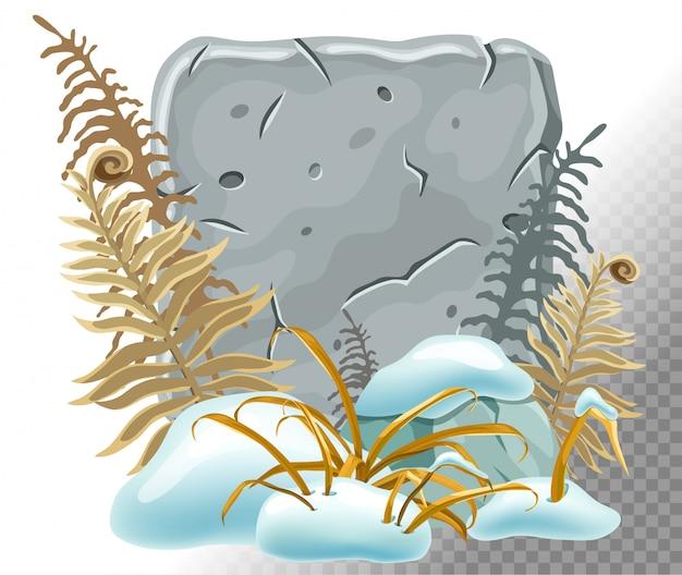 Planche de pierre avec congères, herbe, fougère. Vecteur Premium