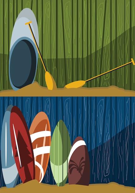 Planche de surf sur bois illustration vectorielle Vecteur Premium