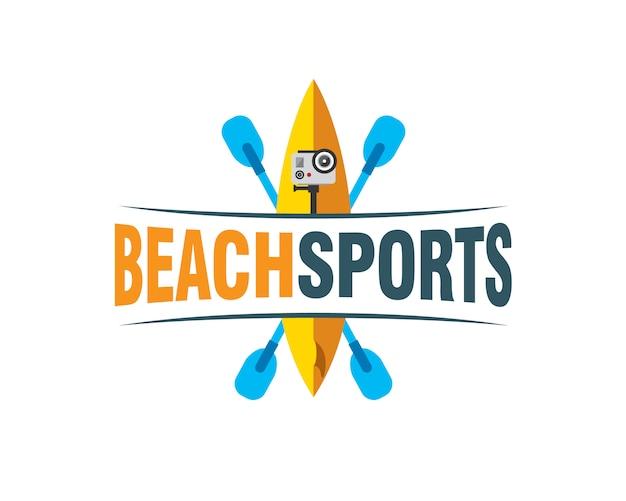 Planche de surf hors-bord paddle tuba et action cam Vecteur Premium