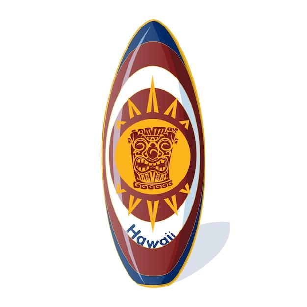 Planche de surf à motif hawaïen Vecteur Premium