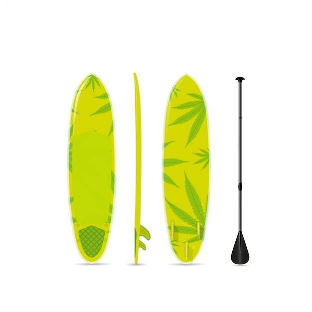 Planche De Surf Vert Avec Un Motif De Marijuana. Trois Côtés. Vecteur Premium