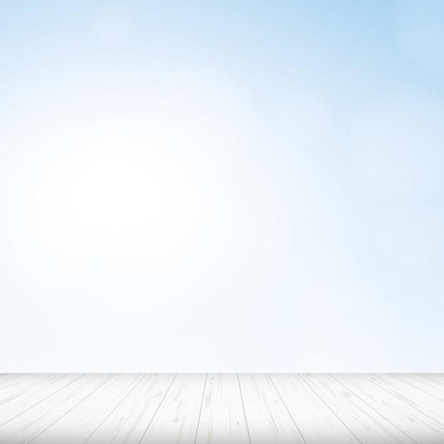 Plancher en bois avec fond de ciel bleu. Vecteur Premium