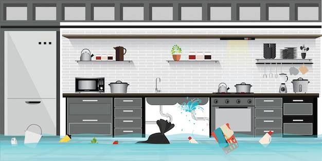 Plancher de cuisine intérieur avec sous-sol inondé avec canalisation qui fuit. Vecteur Premium
