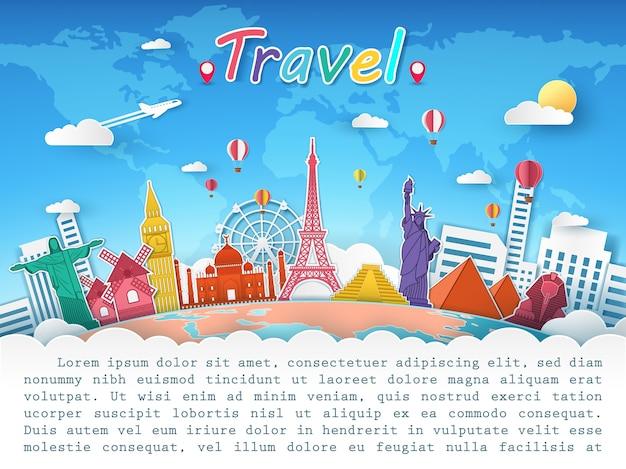 Plane et top mondialement connu pour son concept de voyage. Vecteur Premium
