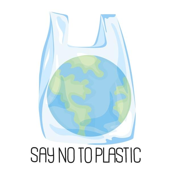 Planet plastic problème écologique Vecteur Premium