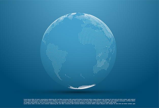 Planète abstraite, points représentant le sens global et international Vecteur Premium