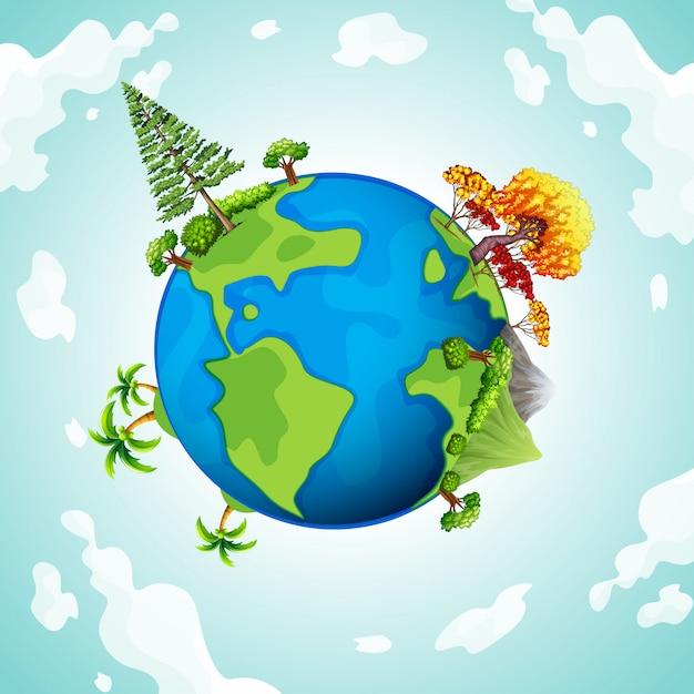 Planète bleue avec arbres et montagnes Vecteur gratuit