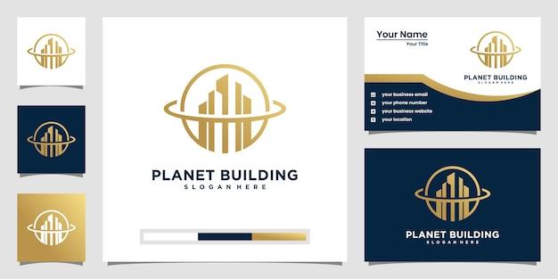 Planète De Construction Avec Concept De Ligne. Résumé Du Bâtiment De La Ville Pour L'inspiration Du Logo. Conception De Cartes De Visite Vecteur Premium