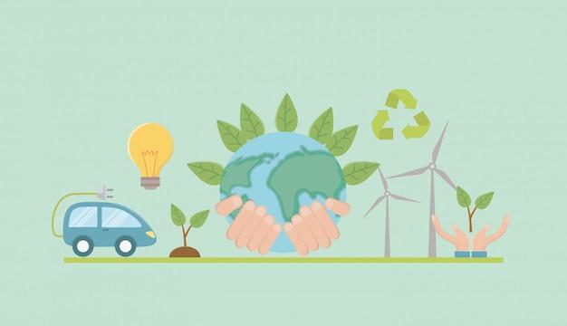 Planète et économiser de l'énergie Vecteur Premium