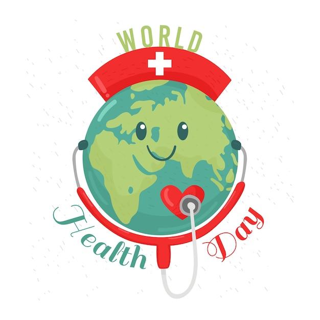 Planète Heureuse Journée Mondiale De La Santé Avec Stéthoscope Vecteur gratuit