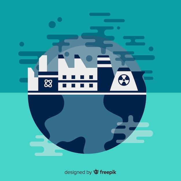 Planète Malade Avec Des Industries Et Des Vapeurs Vecteur gratuit