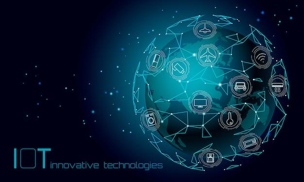 Planète Terre Asie Continent Internet Des Objets Icône Innovation Technologie Concept. Réseau De Communication Sans Fil Iot Ict. Automatisation Du Système Intelligent Illustration Vectorielle En Ligne D'ordinateur Ai Moderne Vecteur Premium