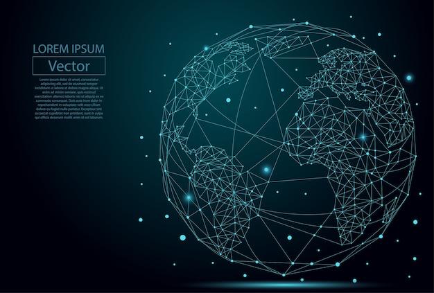 Planète terre constituée de points Vecteur Premium