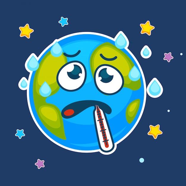 Planète Terre Dessin Animé Malade Avec Thermomètre De