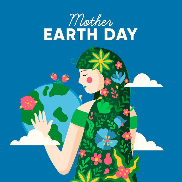 Planète Terre Et Fille Avec Des Fleurs Dans Les Cheveux Vecteur gratuit