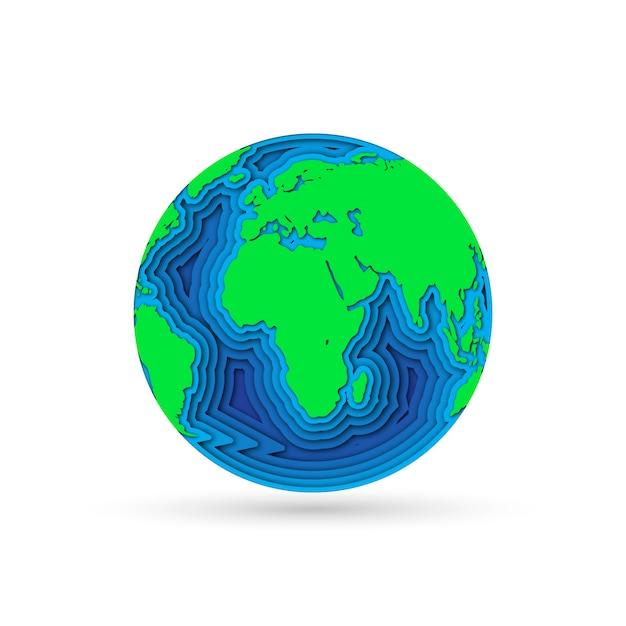 Planète Terre En Papier Découpé. Illustration. Vecteur Premium
