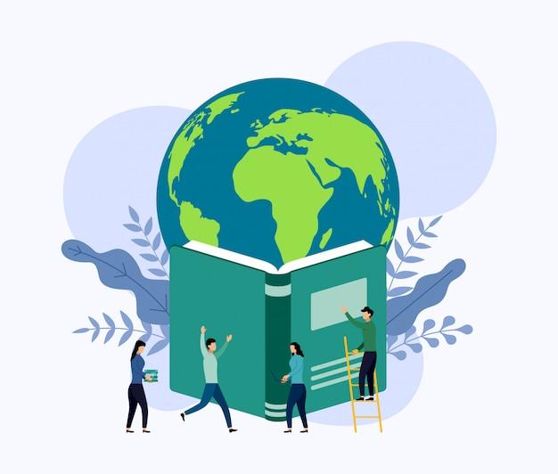 La planète terre plane au-dessus du livre Vecteur Premium
